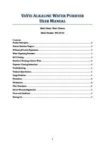VAVIE ALKALINE WATER PURIFIER USER MANUAL