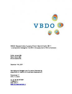VBDO Responsible Supply Chain Benchmark a comparative investigation into CSR in the supply chain of 40 multinationals -