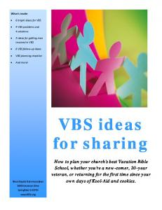 VBS ideas for sharing