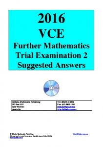 VCE. Further Mathematics Trial Examination 2 Suggested Answers