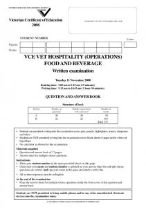 VCE VET HOSPITALITY (OPERATIONS) FOOD AND BEVERAGE