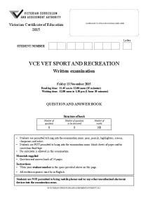VCE VET SPORT AND RECREATION
