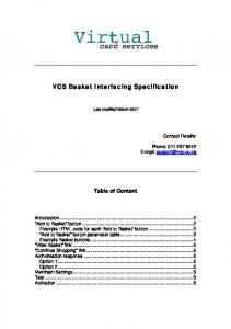 VCS Basket Interfacing Specification