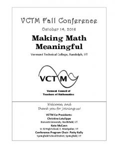 VCTM Fall Conference. Making Math Meaningful