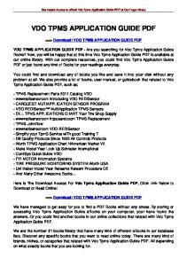VDO TPMS APPLICATION GUIDE PDF