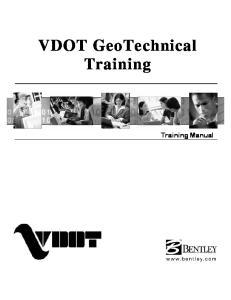 VDOT GeoTechnical Training. Training Manual