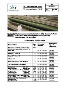 VE-Laminiersystem PN 16 VE-Laminate System PN 16