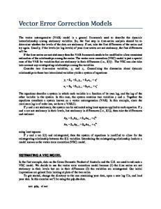 Vector Error Correction Models