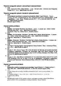 Vedecké monografie vydané v zahraničných vydavateľstvách CLIL - nová výzva Vedecké monografie vydané v domácich vydavateľstvách