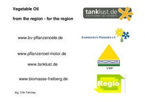 Vegetable Oil. from the region - for the region.    VWP