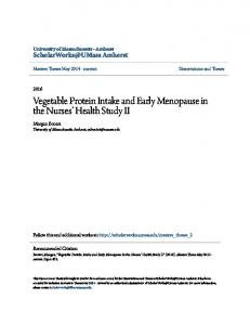 Vegetable Protein Intake and Early Menopause in the Nurses Health Study II