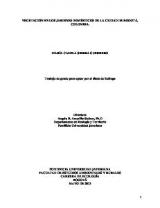 VEGETACIÓN EN LOS JARDINES DOMÉSTICOS DE LA CIUDAD DE BOGOTÁ, COLOMBIA. MARÍA CAMILA SIERRA GUERRERO