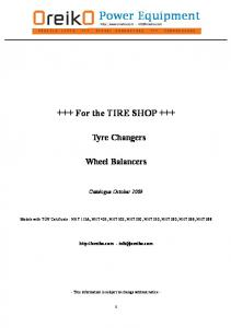 Vehicle lifts +++ Diesel generators +++ Compressors. +++ For the TIRE SHOP +++ Tyre Changers. Wheel Balancers. Catalogue October 2009