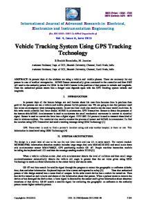 Vehicle Tracking System Using GPS Tracking Technology