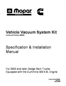 Vehicle Vacuum System Kit Cummins Kit Number Specification & Installation Manual