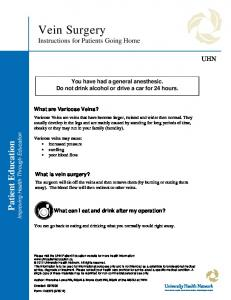 Vein Surgery Instructions for Patients Going Home