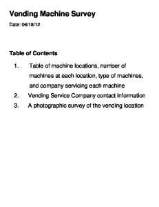 Vending Machine Survey