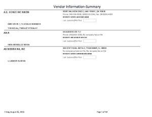 Vendor Information Summary