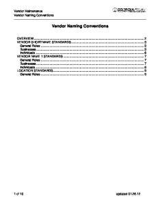 Vendor Naming Conventions