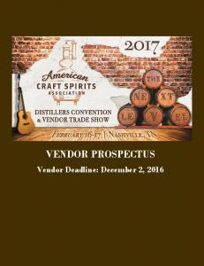 VENDOR PROSPECTUS Vendor Deadline: December 2, 2016