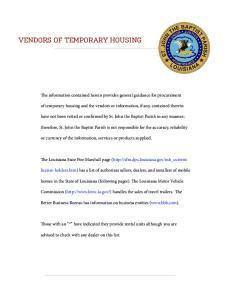 VENDORS OF TEMPORARY HOUSING