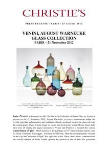 VENINI, AUGUST WARNECKE GLASS COLLECTION PARIS 21 November 2012
