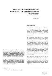 VENTAJAS Y DESVENTAJAS DEL CONTRATO DE ARRENDAMIENTO FINANCIERO