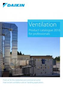 Ventilation. Product catalogue 2016 for professionals