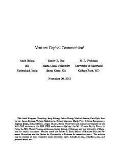 Venture Capital Communities 1