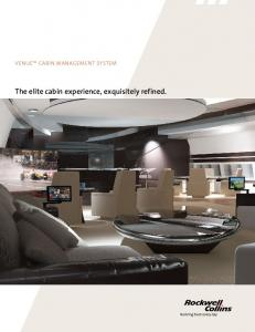 VENUE CABIN MANAGEMENT SYSTEM. The elite cabin experience, exquisitely refined