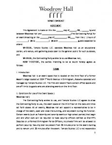 VENUE CONTRACT AGREEMENT. This Agreement is made on this the day of, 20 by and