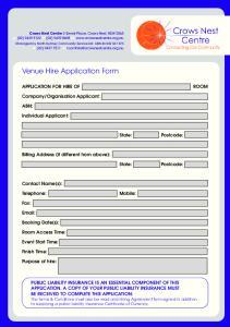 Venue Hire Application Form