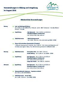 Veranstaltungen in Olsberg und Umgebung im August 2016