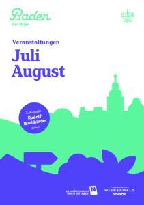 Veranstaltungen. Juli August. 2. August. Rudolf Buchbinder. Seite 11