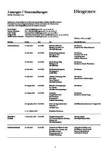 Veranstaltungen Mai bis November 2014