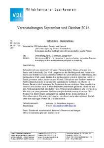 Veranstaltungen September und Oktober 2015