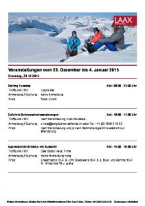 Veranstaltungen vom 23. Dezember bis 4. Januar 2015