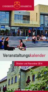 Veranstaltungskalender. Oktober und November