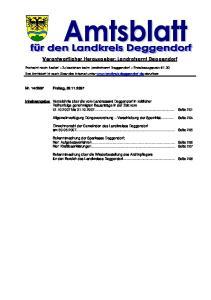 Verantwortlicher Herausgeber: Landratsamt Deggendorf