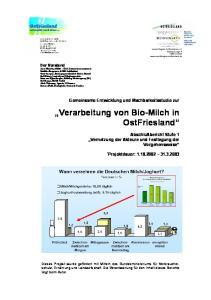 Verarbeitung von Bio-Milch in OstFriesland