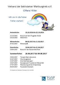 Verband der Behinderten Wartburgkreis e.v. Offene Hilfen
