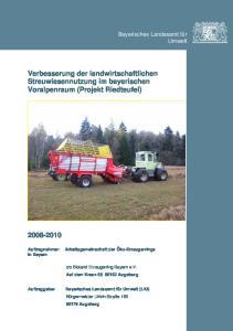 Verbesserung der landwirtschaftlichen Streuwiesennutzung im bayerischen Voralpenraum (Projekt Riedteufel)
