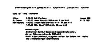 Verbesserung im BLV-Jahrbuch der Senioren-Leichtathletik - Rekorde