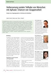 Verbesserung sozialer Teilhabe von Menschen mit Aphasie: Chancen von Gruppenarbeit