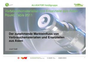 Verbrauchsmaterialien und Ersatzteile aus Asien Round Table 2011