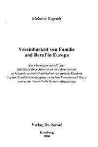 Vereinbarkeit von Familie und Beruf in Europa