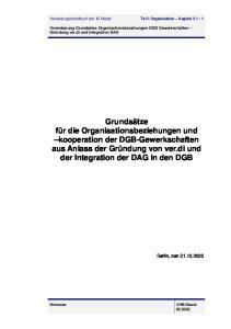 Vereinbarung Grundsätze Organisationsbeziehungen DGB Gewerkschaften Gründung ver.di und Integration DAG