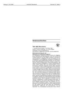 Vereinsnachrichten. TSV 1892 Wiernsheim