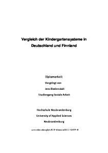 Vergleich der Kindergartensysteme in Deutschland und Finnland