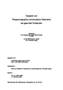 Vergleich von Polysomnographie und simultaner Aktometrie bei gesunden Probanden